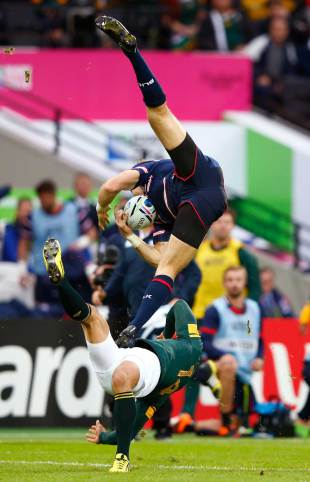 Blaine Scully of the United States and Bryan Habana come together going for a high ball, South Africa v USA, Rugby World Cup, Queen Elizabeth Park, London, October 7, 2015