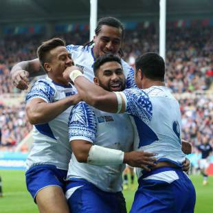 Samoa's Ma'atulimanu Leiataua celebrates with team-mates after scoring a try, Scotland v Samoa, Rugby World Cup, St James' Park, Newcastle-upon-Tyne, October 10, 2015