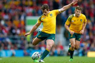 Australia's Bernard Foley kicks at goal, Australia v Wales, Rugby World Cup, Twickenham Stadium, London, October 10, 2015