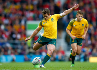 LONDON, ENGLAND - OCTOBER 10: Bernard Foley of Australia kicks at goal during the 2015 Rugby World Cup Pool A match between Australia and Wales at Twickenham Stadium on October 10, 2015 in London, United Kingdom.  (Photo by Shaun Botterill/Getty Images)