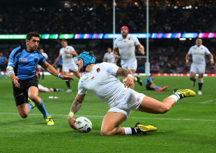MANCHESTER, ENGLAND - OCTOBER 10:  Jack Nowell of England scores the sixth try during the 2015 Rugby World Cup Pool A match between England and Uruguay at Manchester City Stadium on October 10, 2015 in Manchester, United Kingdom.  (Photo by David Rogers/Getty Images)