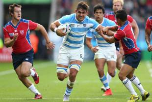 Argentina's Pablo Matera charges upfield, Argentina v Namibia, Rugby World Cup, Leicester City Stadium, Leicester, October 11, 2015