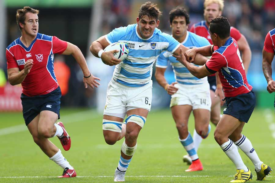 Argentina's Pablo Matera charges upfield