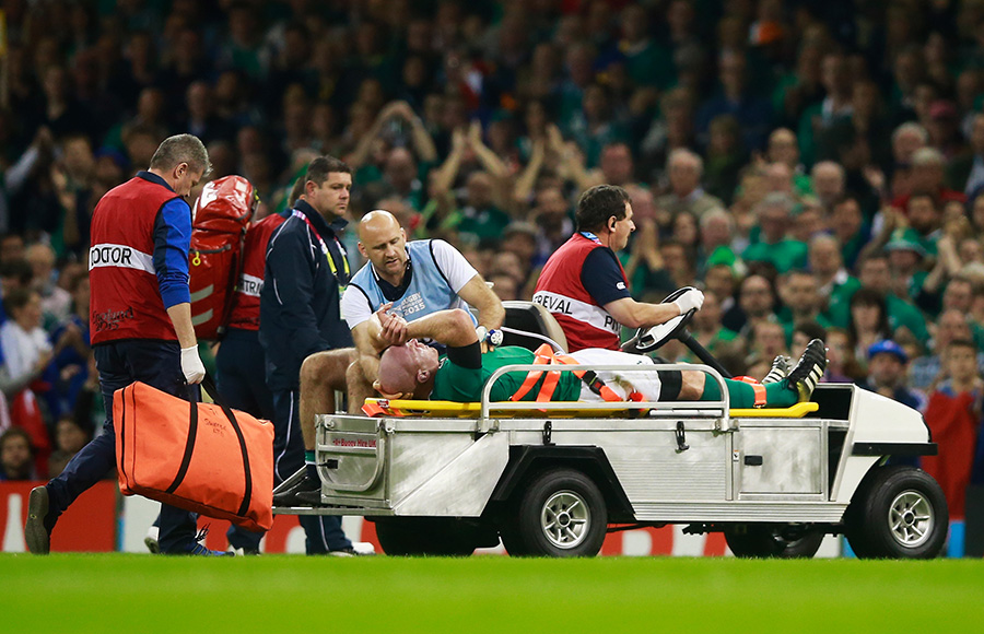 Paul O'Connell of Ireland is stretchered off