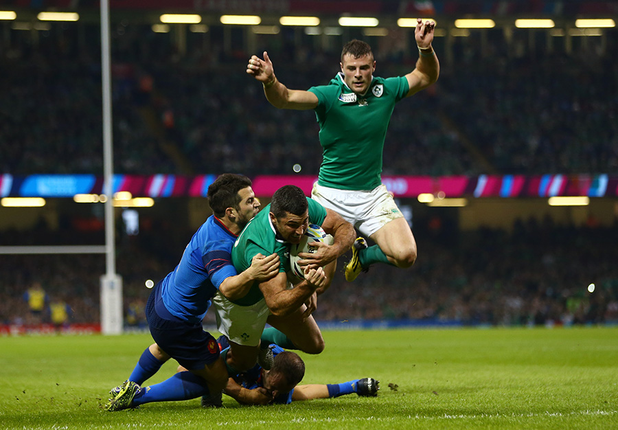 Rob Kearney of Ireland scores to extend their lead early in the second half