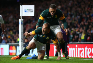 Fourie Du Preez of South Africa celebrates his try with Bryan Habana, South Africa v Wales, Rugby World Cup, Twickenham Stadium, London, October 17, 2015