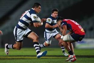 Auckland's Bryce Heem takes the ball into contact, Auckland v Tasman, ITM Cup, Eden Park Auckland, October 16, 2015