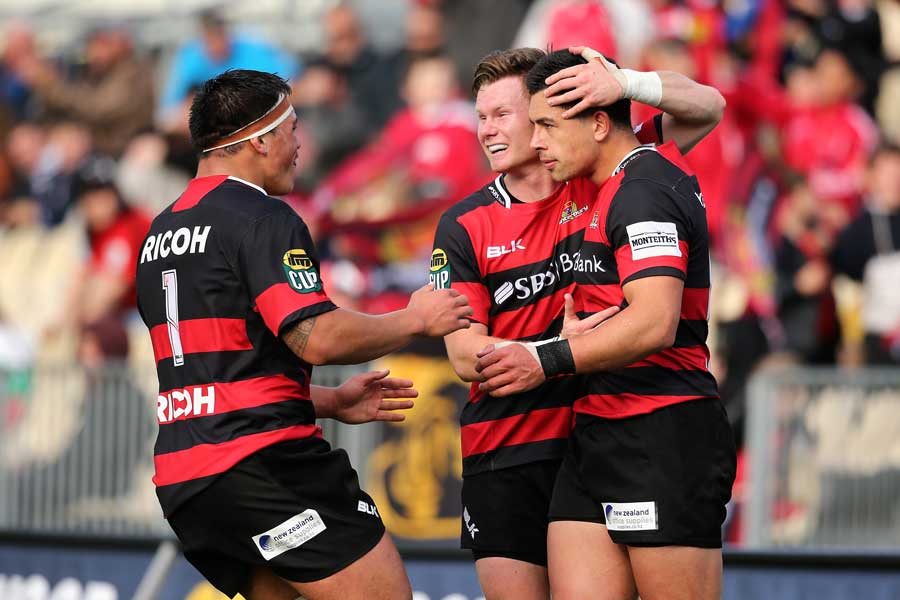 Canterbury's Daniel Lienert-Brown, Mitchell Drummond and Rob Thompson celebrate a try