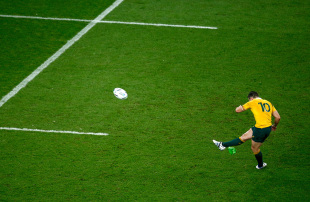 LONDON, ENGLAND - OCTOBER 18: Bernard Foley of Australia kicks the match winning penalty during the 2015 Rugby World Cup Quarter Final match between Australia and Scotland at Twickenham Stadium on October 18, 2015 in London, United Kingdom. (Photo by Mike Hewitt/Getty Images)