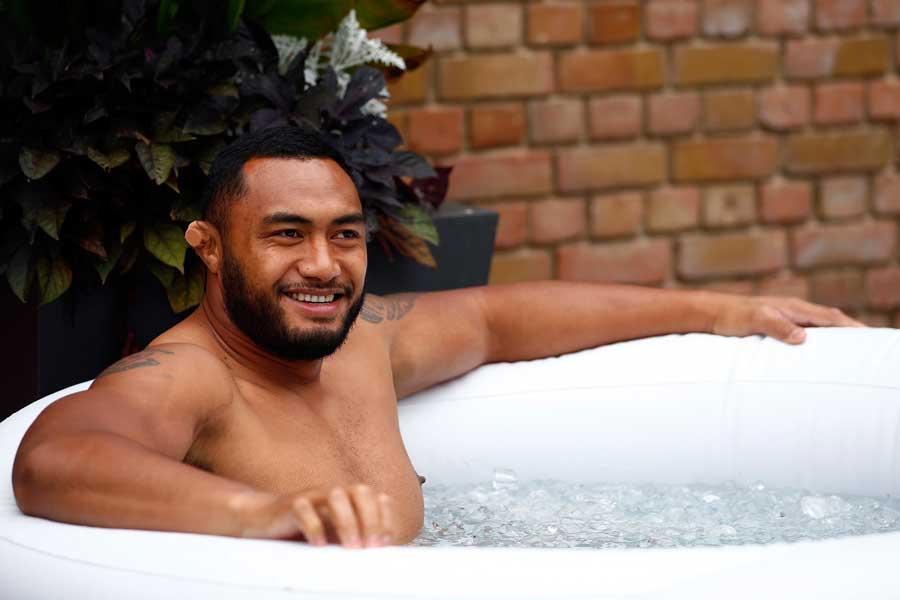 Australia's Sekope Kepu sits in an ice bath