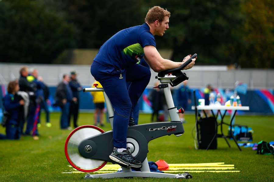 David Pocock pedals on an exercise bike during a Wallabies training session