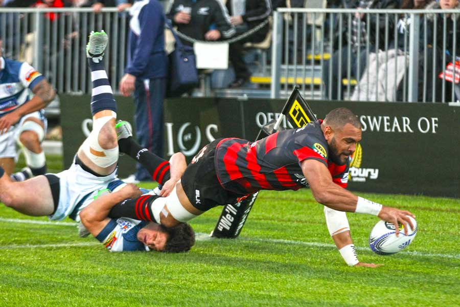 Canterbury's Patrick Osborne scores a try