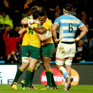 Australia's Adam Ashley-Cooper celebrates with teammates after scoring his third try, Argentina v Australia, Rugby World Cup, Twickenham Stadium, London, October 25, 2015