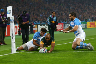 South Africa's JP Pietersen scores a try, South Africa v Argentina, Rugby World Cup, bronze final, Queen Elizabeth Park, London, October 30, 2015