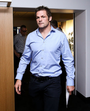 New Zealand's Richie McCaw prepares to announce his retirement from rugby, Wellington, New Zealand, November 19, 2015