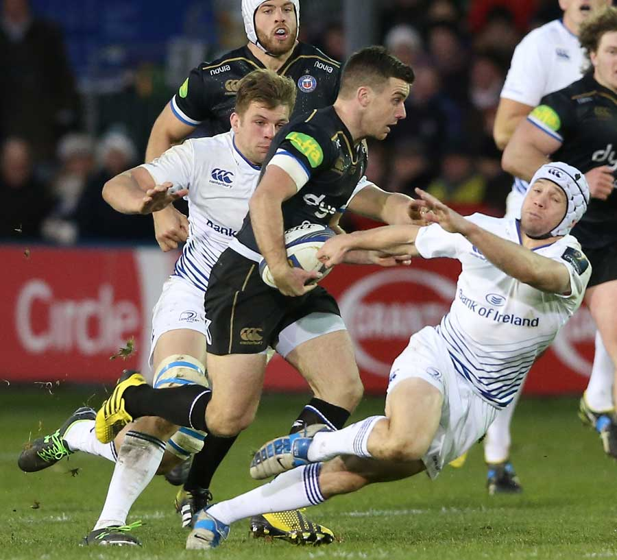 George Ford of Bath is tackled by Isaac Boss