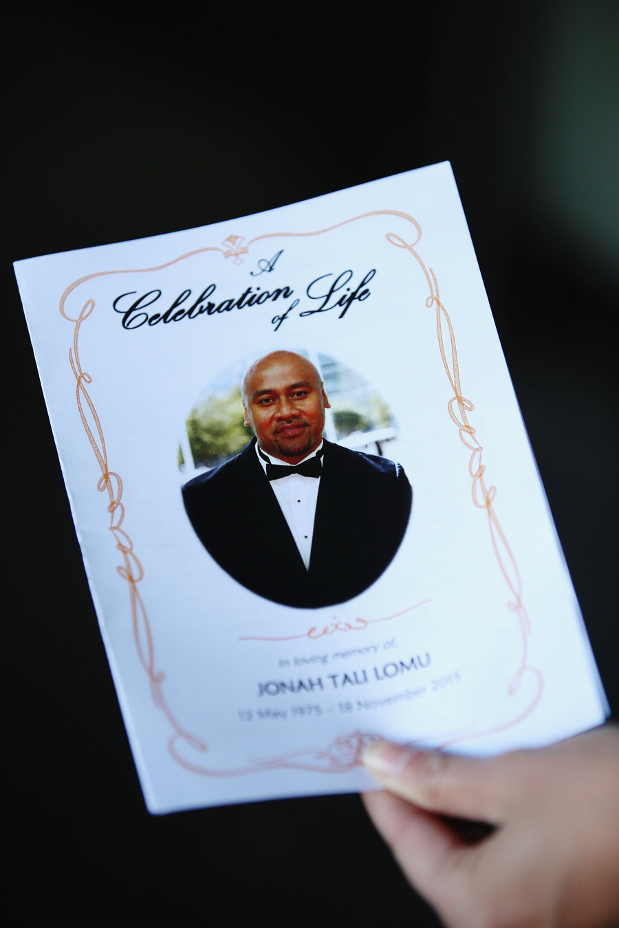The order of service is seen for a public memorial service for Jonah Lomu at Lotofalei'a Tongan Methodist Church