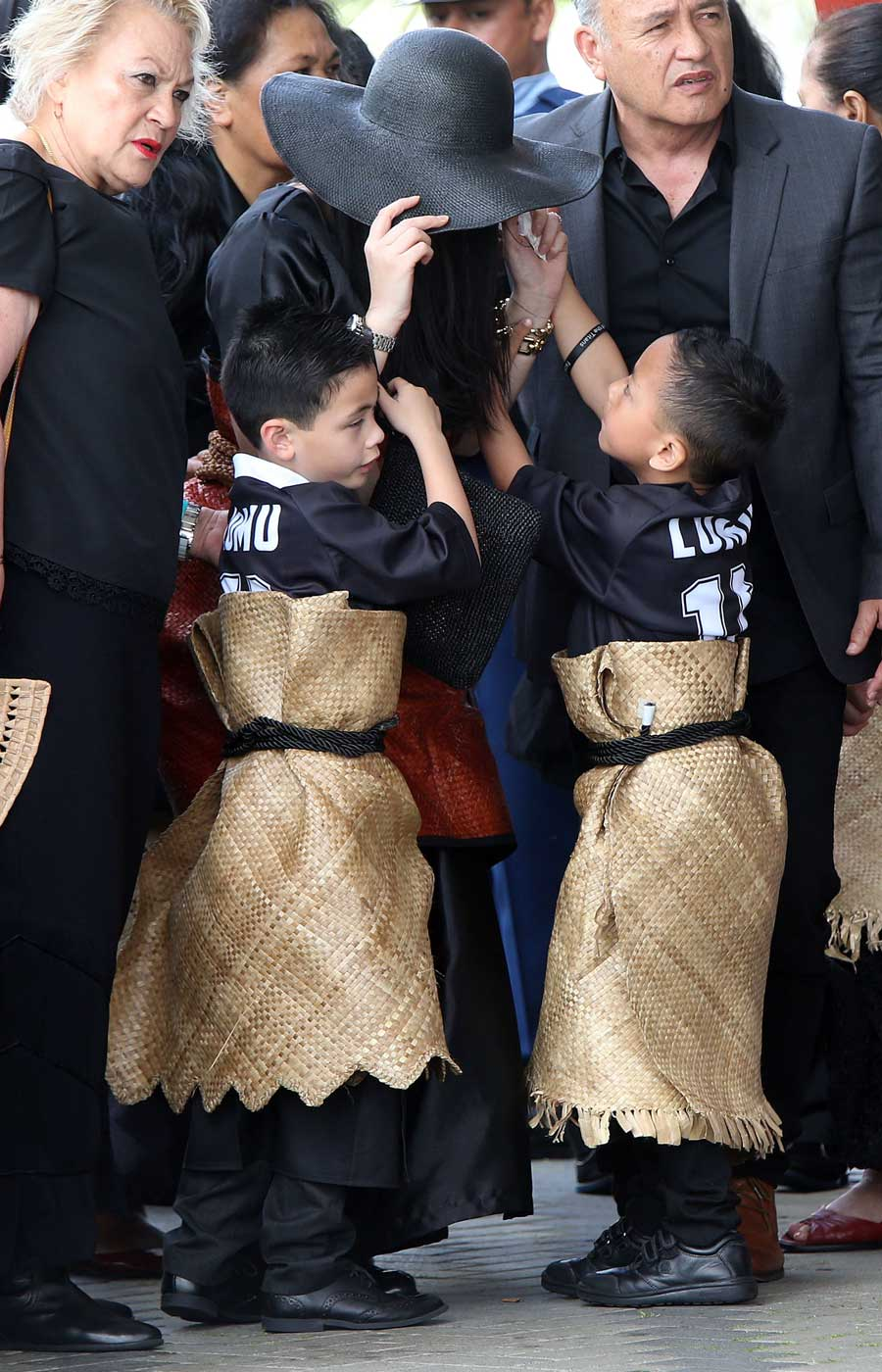 Jonah Lomu's sons Brayley (left) and Dhyreille (right) attend the Jonah Lomu Aho Faka Famili in Auckland, a celebration of their father's life