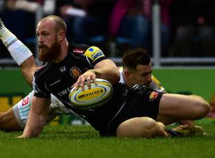 James Short of Exeter Chiefs dives over for his side's first try during the Aviva Premiership match between Exeter Chiefs and Harlequins at Sandy Park on November 28, 2015 in Exeter, England. (Photo by Dan Mullan/Getty Images)