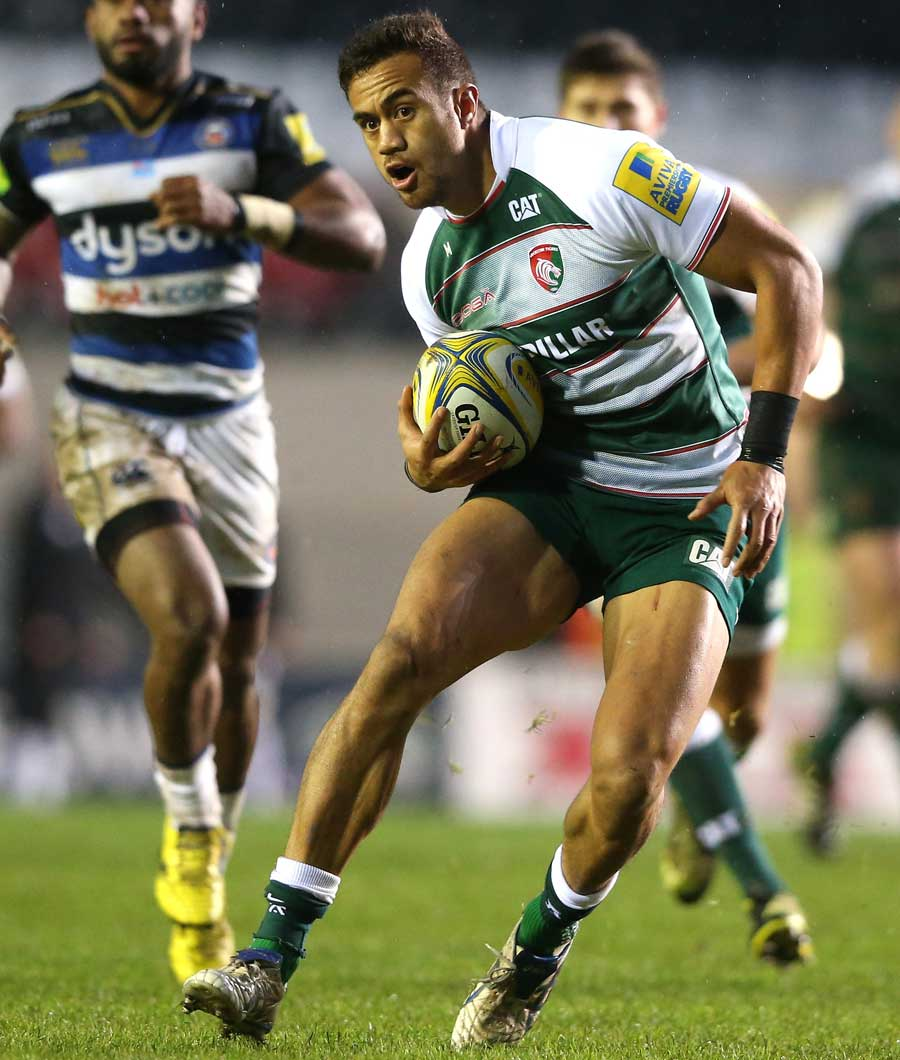 Peter Betham of Leicester runs with the ball