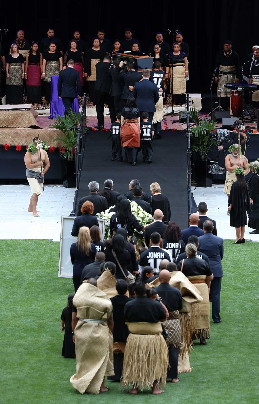 Jonah Lomu's casket arrives followed by family at the Public Memorial,