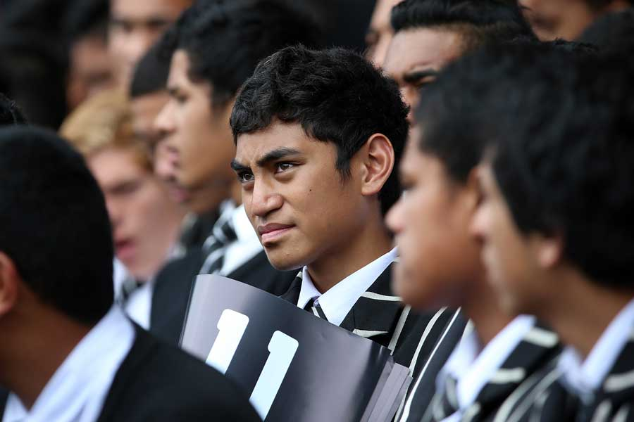 Students from Wesley College, Jonah Lomu's former school, listen to speakers at the Public Memorial for Jonah Lomu.