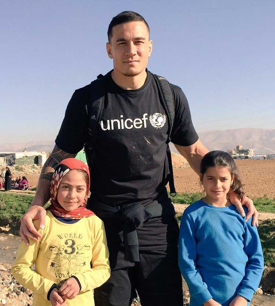 Sonny Bill Williams is in Lebanon as a UNICEF ambassador to highlight the plight of children devastated by conflict in Syria.