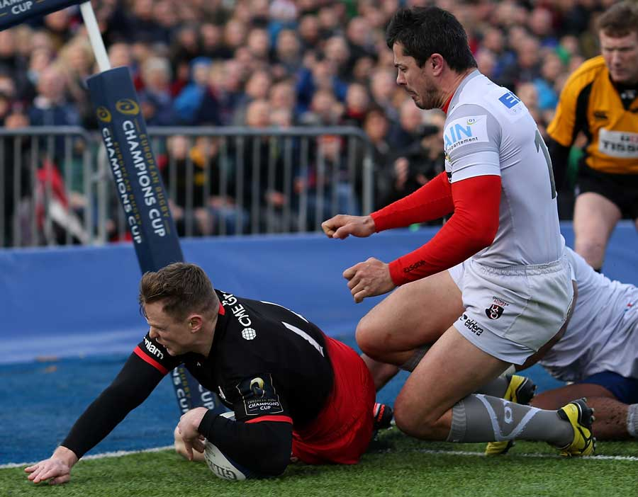 Chris Ashton of Saracens scores the opening try of the game