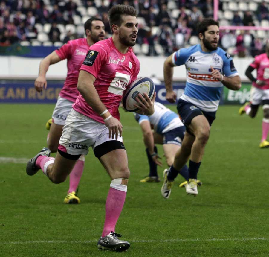 Stade Francais' fullback Hugo Bonneval scores