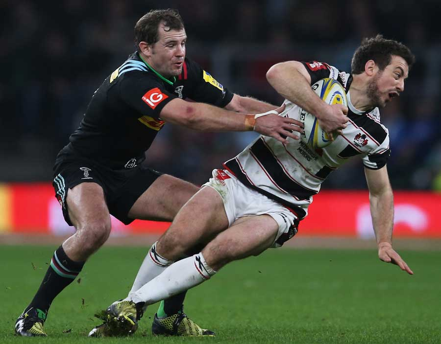 Greig Laidlaw of Gloucester is tackled