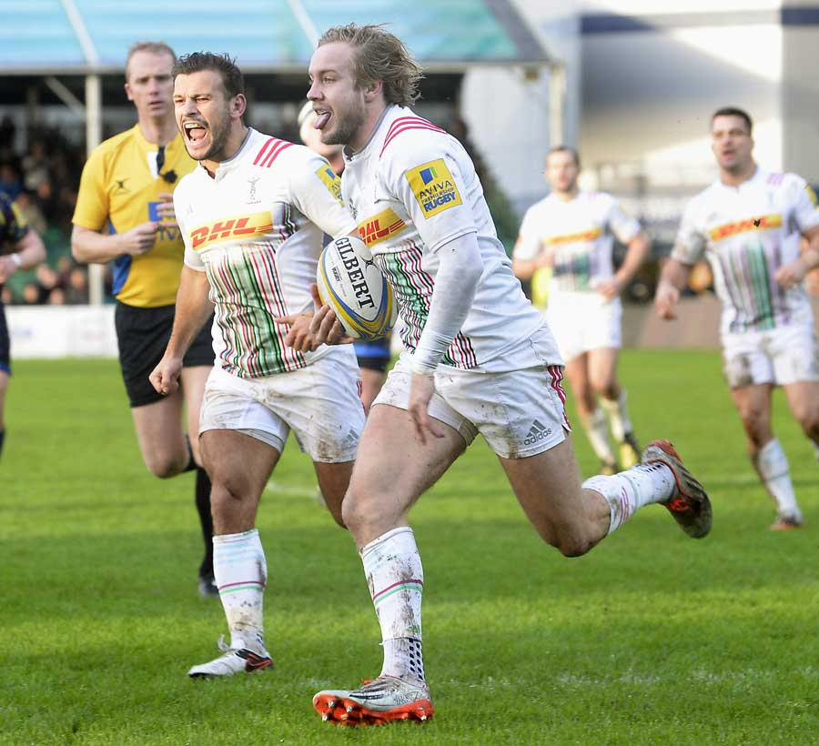 Harlequins' Charlie Walker goes over for their first try