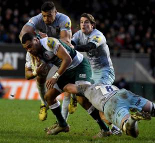 Telusa Veainu of Leicester Tigers is tackled by Sam Dickinson of Northampton during the Aviva Premiership match between Leicester Tigers and Northampton Saints at Welford Road on January 9, 2016 in Leicester, England. (Photo by Ross Kinnaird/Getty Images)