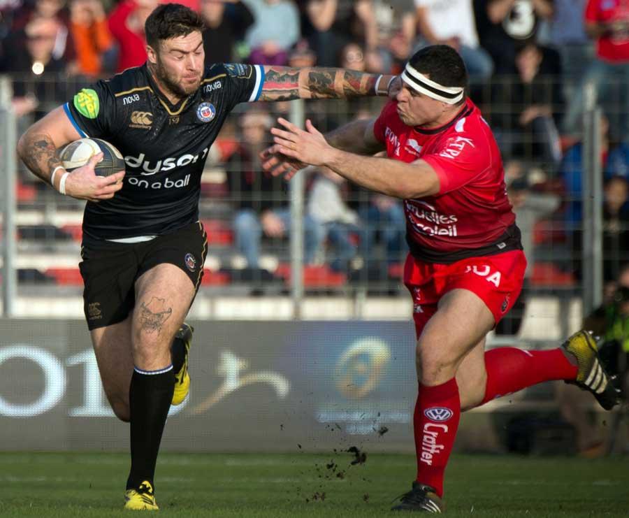 Bath's Matt Banahan tries to make some yards against Toulon