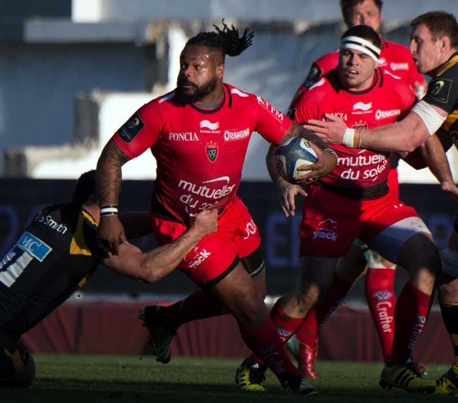 RC Toulon's French centre Mathieu Bastareaud tries to unpick the Wasps defence