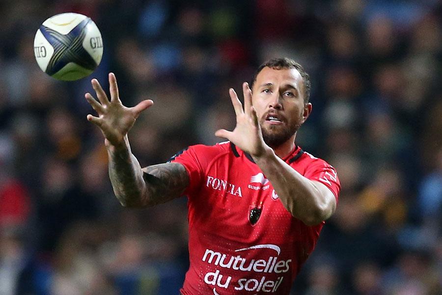 Toulon's Quade Cooper prepares to take a pass