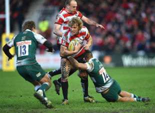 GLOUCESTER, ENGLAND - JANUARY 30: Billy Twelvetrees of Gloucester Rugby is tackled by Peter Betham of Leicester Tigers during the Aviva Premiership match between Gloucester Rugby and Leicester Tigers at Kingsholm Stadium on January 30, 2016 in Gloucester, England. (Photo by Tom Dulat/Getty Images)