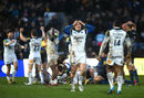 Max Clark of Bath Rugby celebrates victory