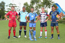James Slipper of the Reds, Wycliff Palu of the Waratahs, Matt Hodgson of the Force, Nic Stirzaker of the Rebels and Christian Lealiifano of the Brumbies pose during the 2016 Super Rugby Australian season launch