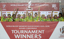Australia Women's sevens side celebrate winning the Sao Paulo sevens