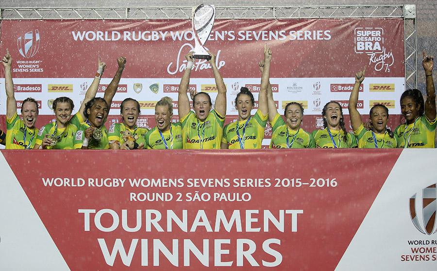 Australia Women's sevens side celebrate winning the Sao Paulo sevens