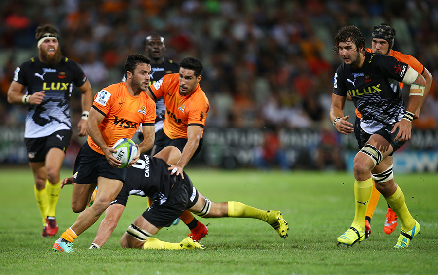 Martin Landajo tries to find a way through for the Jaguares