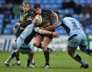 Northampton's James Downey looks to force an opening in the Blues' defence