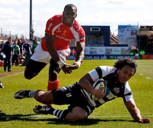 Bristol centre Junior Fatialofa touches down for a try