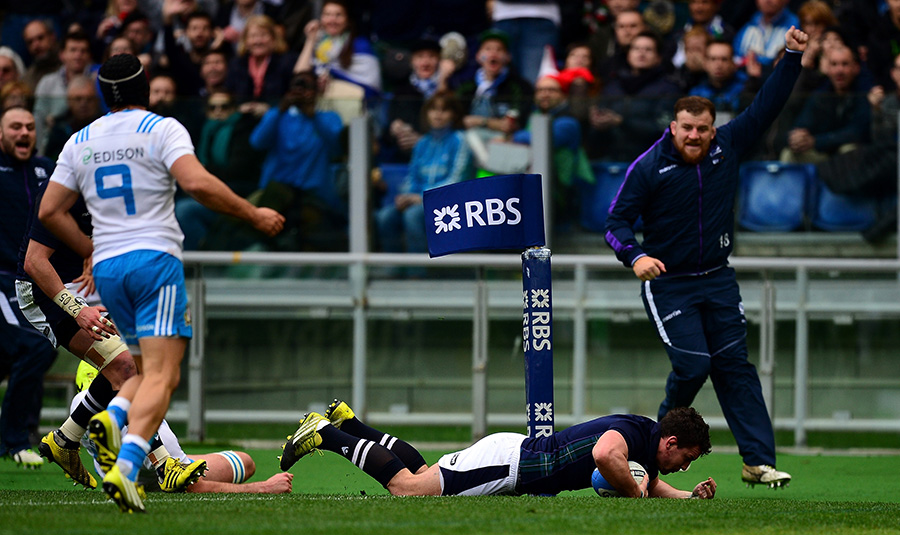 John Hardie of Scotland goes over for his side's second try