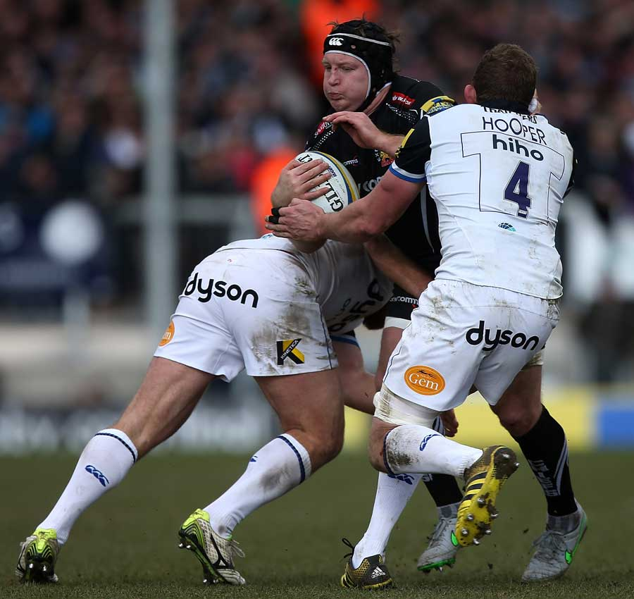 Thomas Waldrom of Exeter is tackled by Ross Batty