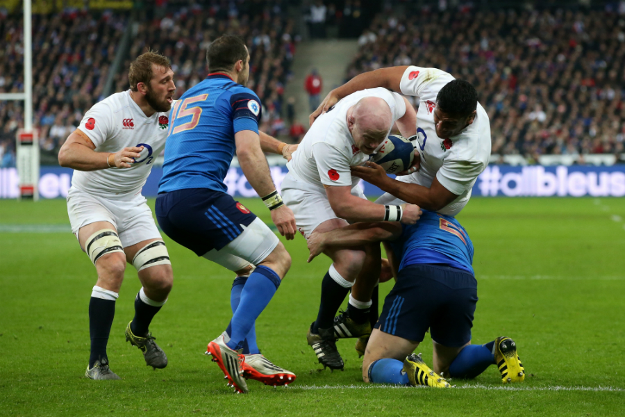 Dan Cole is tackled short of the try line before touching down