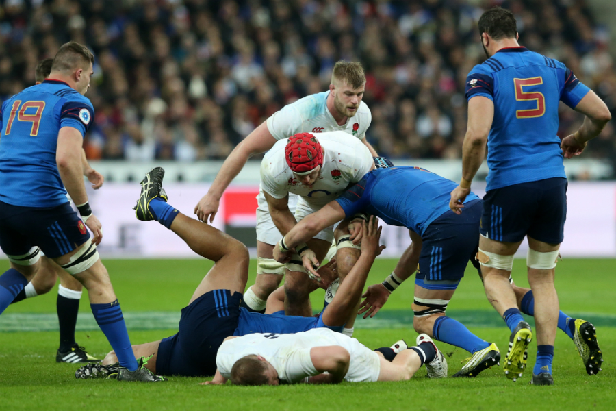 Dyan Hartley lies motionless following a heavy collision
