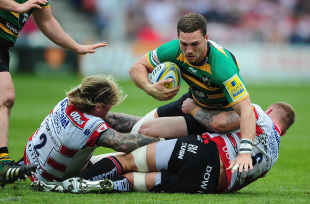 George North of Northampton Saints is tackled by Richard Hibbard of Gloucester Rugby(L) and Ross Moriarty of Gloucester Rugby during the Aviva Premiership match between Gloucester Rugby and Northampton Saints at Kingsholm on May 07, 2016 in Gloucester, England. (Photo by Harry Trump/Getty Images)