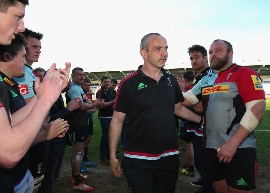 The Harlequins players applaud Conor O'Shea in his final match in charge at the Stoop