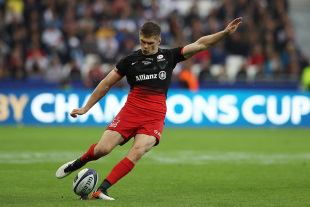 LYON, FRANCE - MAY 14: Owen Farrell of Saracens kicks a penalty to open the scoring during the European Rugby Champions Cup Final match between Racing 92 and Saracens at the Stade de Lyon on May 14, 2016 in Lyon, France.